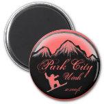 Imán rosado del arte de la snowboard de Park City