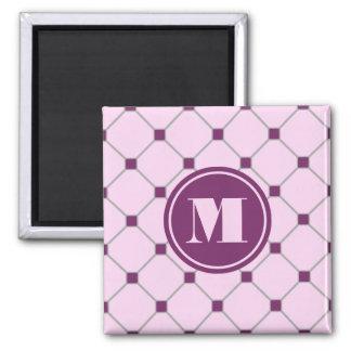 Imán rosado del diamante del monograma