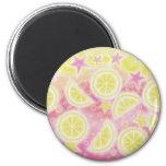 Imán rosado del refrigerador de la limonada redond