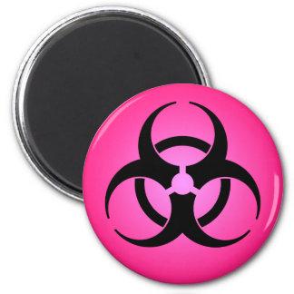 Imán rosado del símbolo del Biohazard