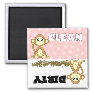Imán rosado limpio sucio del mono lindo del lavapl