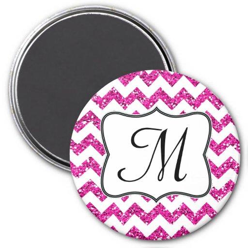 Imán rosado moderno de la inicial del monograma de