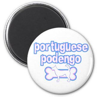 Imán rosado y azul de Podengo del portugués del