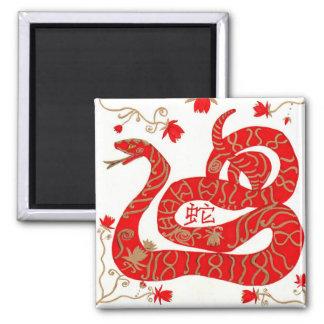 Imán, serpiente china del zodiaco imán cuadrado