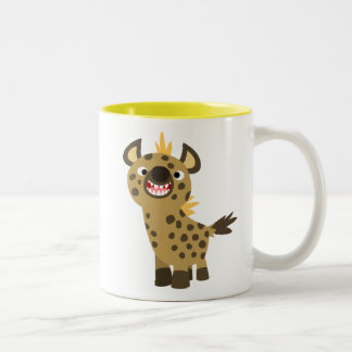 Imán sonriente lindo del Hyena del dibujo animado Taza Dos Tonos