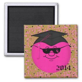 Imán Sq sonriente 2014 de la graduación rosado
