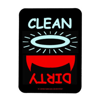 Imán sucio limpio cristiano del lavaplatos