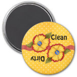 Imán sucio limpio del lavaplatos de la flor amaril