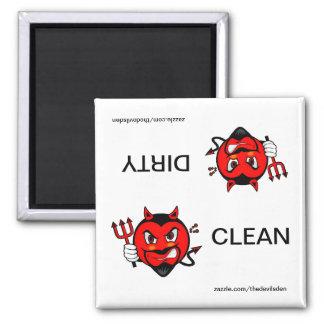Imán sucio limpio del lavaplatos del diablo