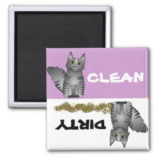 Imán sucio limpio del lavaplatos del gato gris lin