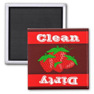 Imán sucio limpio del lavaplatos del indicador de