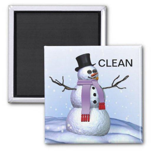 Imán sucio limpio del lavaplatos del navidad del m