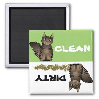 Imán sucio limpio lindo del lavaplatos del gato de