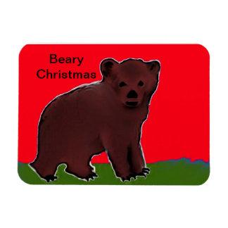 Imán superior del navidad de Beary en rojo y verde