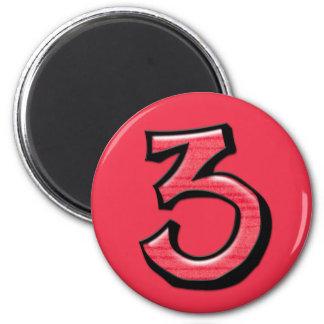 Imán tonto del rojo de los números 3