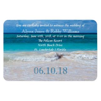 Imán tropical de la invitación del boda del agua