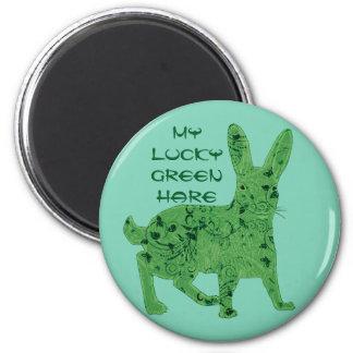Imán verde afortunado de las liebres el |