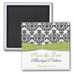 Imán verde, blanco, y negro del boda del damasco