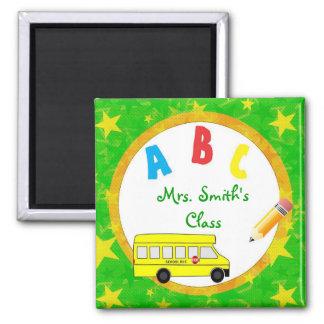Imán verde D2 del profesor del autobús escolar
