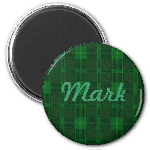 Imán verde de encargo de la tela escocesa