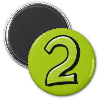 Imán verde de los números 2 tontos