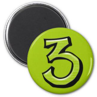 Imán verde de los números 3 tontos