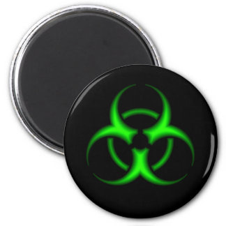 Imán verde de neón del símbolo del Biohazard