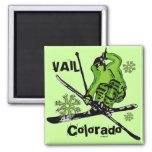 Imán verde de neón del tema del esquiador de Vail