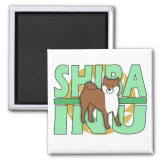 Imán verde de Shiba Inu del texto
