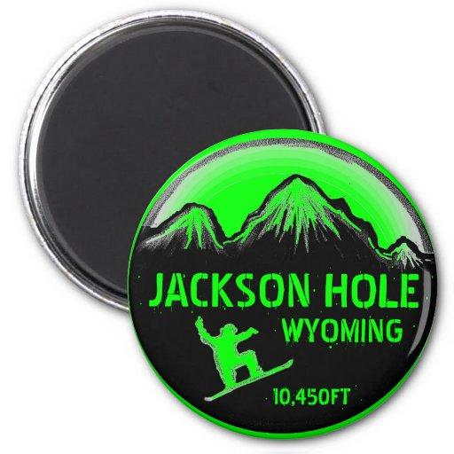 Imán verde del arte de la snowboard de Jackson Hol