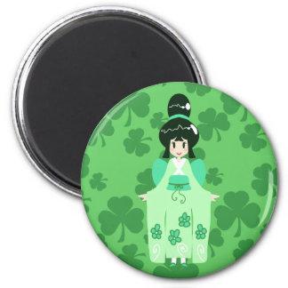 Imán verde del chica de Furisode