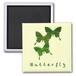 Imán verde del cuadrado del trío de la mariposa