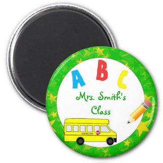 Imán verde del profesor del autobús escolar