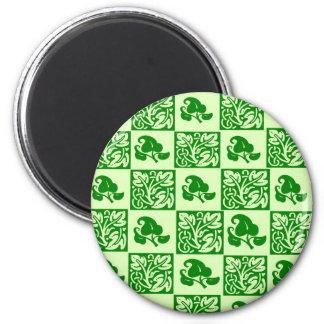 Imán verde frondoso de la impresión de bloque de l