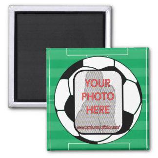 Imanes adaptables del balón de fútbol de la foto imán cuadrado