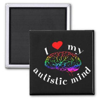 Imanes autísticos de la mente imán cuadrado