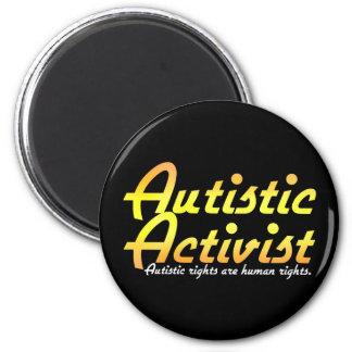 Imanes autísticos del activista (oro) imán redondo 5 cm