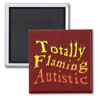 Imanes autísticos totalmente el flamear imán cuadrado