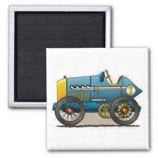 Imanes azules del coche de carreras del vintage imán de frigorífico