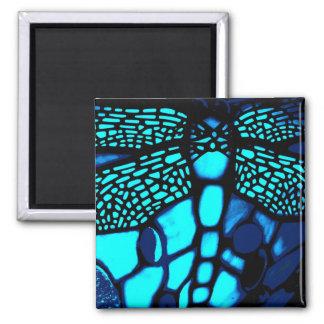 imanes azules del cuadrado de la libélula imán cuadrado