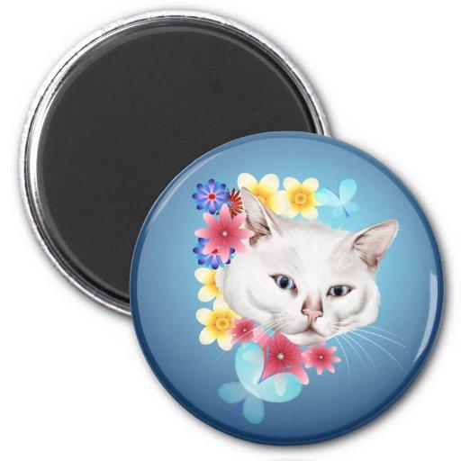 Imanes blancos curiosos del gatito iman de frigorífico