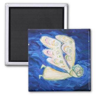 Imanes blancos del bebé del ángel y el dormir iman de frigorífico