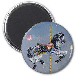 Imanes - caballo gris del carrusel de la yegua imán redondo 5 cm