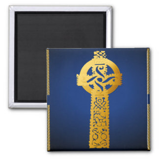 Imanes de la cruz céltica del oro imán cuadrado