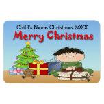 Imanes de la flexión del niño pequeño del navidad