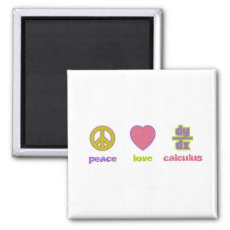 Imanes de la paz, del amor y del cálculo imán cuadrado