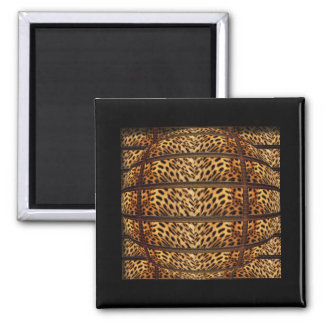 Imanes de la piel del leopardo imán cuadrado