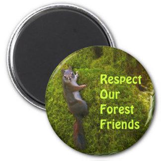 Imanes de los amigos del bosque de la ARDILLA de Imán Redondo 5 Cm