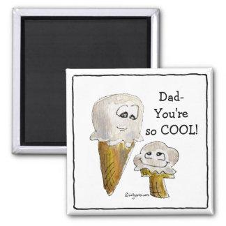 Imanes de los conos de helado del dibujo animado imán cuadrado