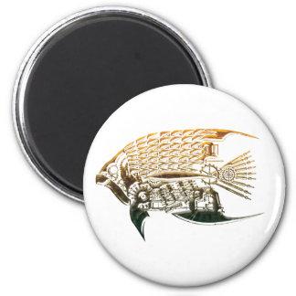 Imanes de los pescados de Steampunk Imán Redondo 5 Cm